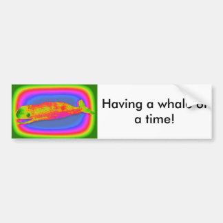 smiling psychedelic whale bumper sticker