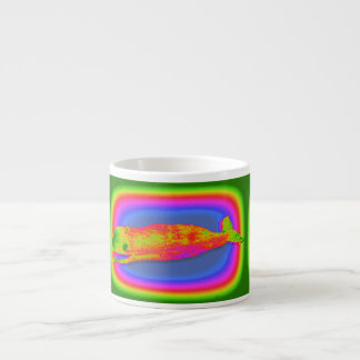 smiling psychedelic whale espresso mug