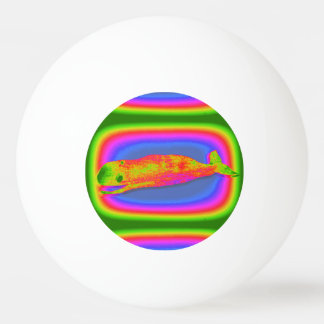 smiling psychedelic whale ping pong ball