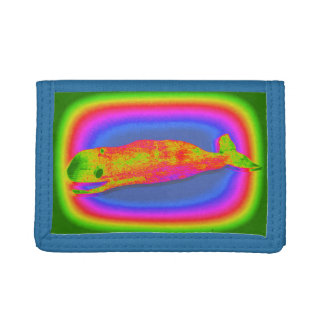 smiling psychedelic whale wallet