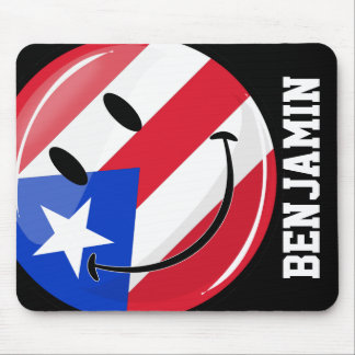 Smiling Puerto Rican Flag Mouse Pad