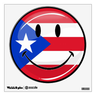 Smiling Puerto Rican Flag Wall Sticker
