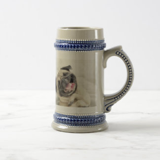 Smiling pug.Funny pug Beer Stein