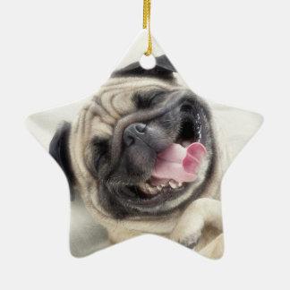 Smiling pug.Funny pug Ceramic Ornament