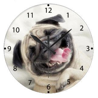 Smiling pug.Funny pug Large Clock