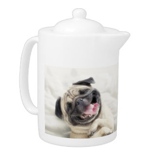 Smiling pug.Funny pug Teapot