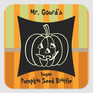 Smiling Pumpkin Canning and Baking Label Square Sticker