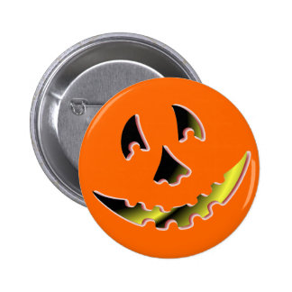 Smiling Pumpkin Face Button
