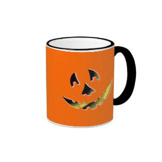 Smiling Pumpkin Face Ringer Coffee Mug