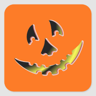 Smiling Pumpkin Face Square Stickers