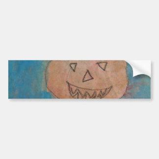 Smiling Pumpkin, Halloween Kids Art Watercolor Bumper Sticker