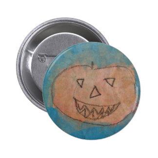 Smiling Pumpkin, Halloween Kids Art Watercolor Pinback Button