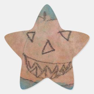 Smiling Pumpkin, Halloween Kids Art Watercolor Star Sticker