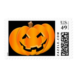 Smiling Pumpkin Halloween Postage Stamp