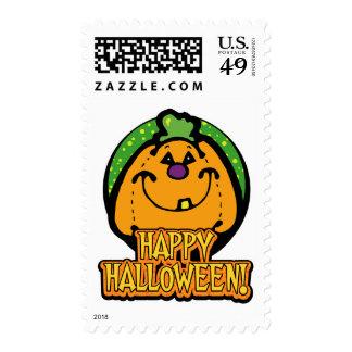 Smiling Pumpkin Halloween Postage Stamps