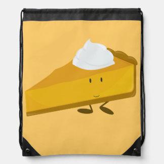 Smiling pumpkin pie slice drawstring backpack