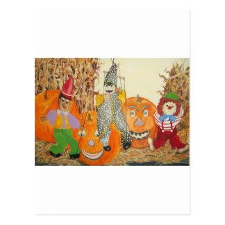 smiling pumpkins postcard