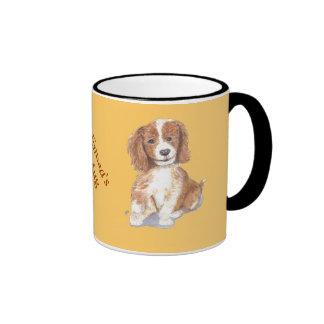 Smiling Puppy, add text, name. Ringer Mug