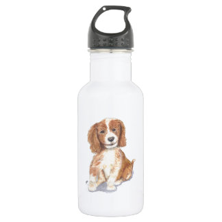 Smiling Puppy, add text, name. Water Bottle