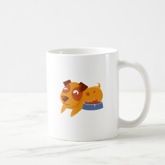 Smiling Puppy Next To Bowl Full Of Biscuits Coffee Mug