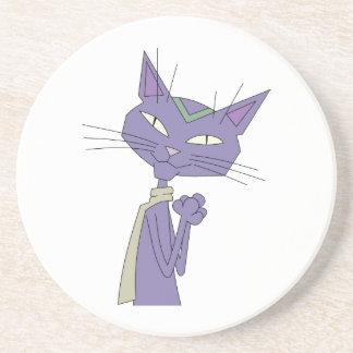 Smiling Purple Cartoon Cat Wearing Scarf Beverage Coaster