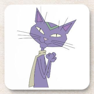Smiling Purple Cartoon Cat Wearing Scarf Coasters