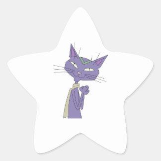 Smiling Purple Cartoon Cat Wearing Scarf Star Sticker