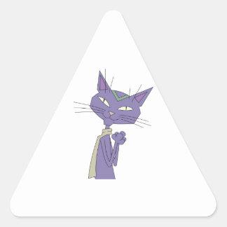 Smiling Purple Cartoon Cat Wearing Scarf Triangle Sticker