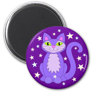 Smiling Purple Kitty Cat Green Eyes Cosmic Stars 2 Inch Round Magnet
