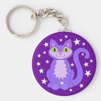 Smiling Purple Kitty Cat Green Eyes Cosmic Stars Keychain