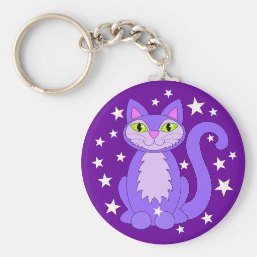 Smiling Purple Kitty Cat Green Eyes Cosmic Stars Key Chain
