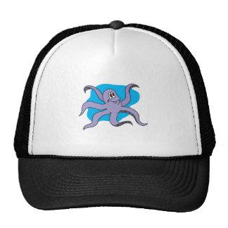 smiling purple octopus trucker hat