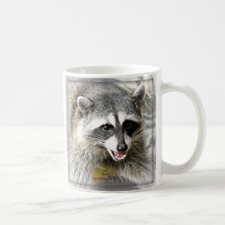 smiling raccoon face mug