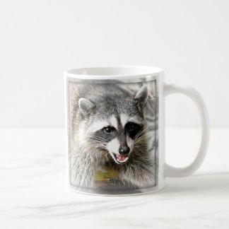 smiling raccoon face mug