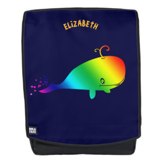 Smiling Rainbow Whale With Bubbles Backpack
