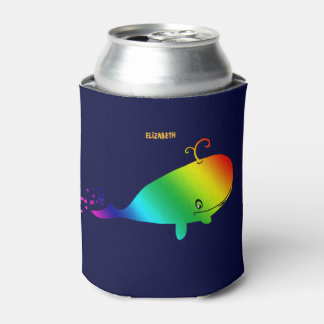 Smiling Rainbow Whale With Bubbles Can Cooler