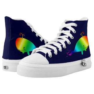 Smiling Rainbow Whale With Bubbles High-Top Sneakers