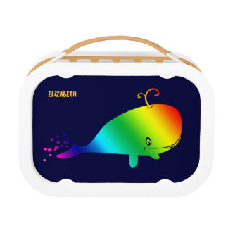 Smiling Rainbow Whale With Bubbles Lunch Box