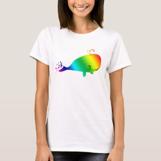 Smiling Rainbow Whale With Bubbles T-Shirt