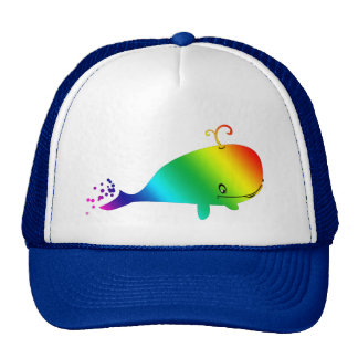 Smiling Rainbow Whale With Bubbles Trucker Hat