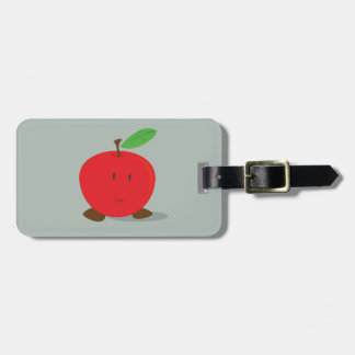 Smiling red apple luggage tag
