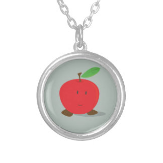 Smiling red apple round pendant necklace