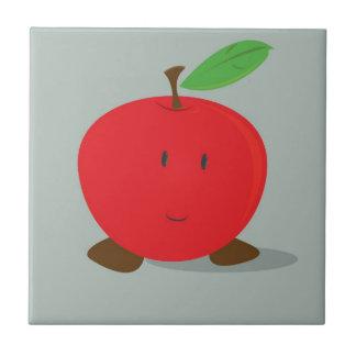 Smiling red apple tile