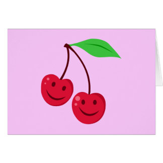 Smiling Red Cherries Card