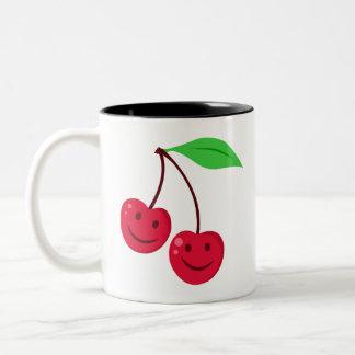 Smiling Red Cherries Two-Tone Coffee Mug