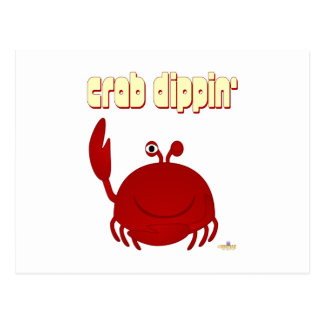 Smiling Red Crab Crab Dippin' Postcard