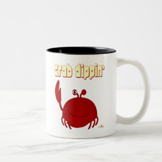 Smiling Red Crab Crab Dippin' Two-Tone Coffee Mug