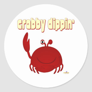 Smiling Red Crab   Dippin' Classic Round Sticker