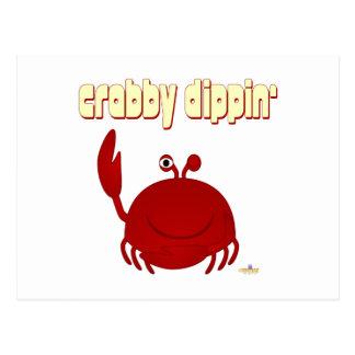 Smiling Red Crab   Dippin' Postcard