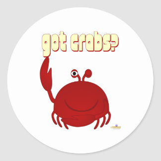 Smiling Red Crab Got Crabs Round Sticker